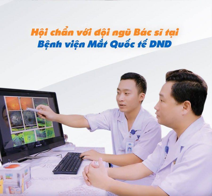 Bác sĩ Đoàn Anh và bác sĩ Đinh Yên Lục - Bệnh viện Mắt Quốc tế DND